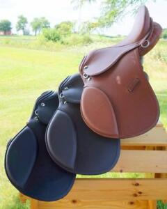 13-034-BLACK-TAN-BROWN-All-Purpose-Youth-Kids-English-EVENT-JUMP-Leather-Saddle-NEW