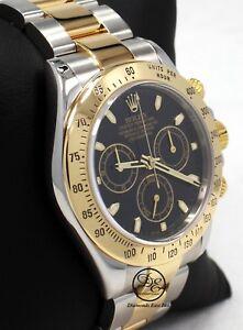 4d3692151 Rolex Daytona 116523 Cosmograph 2Tone 18K Yellow Gold /SS Black Dial ...
