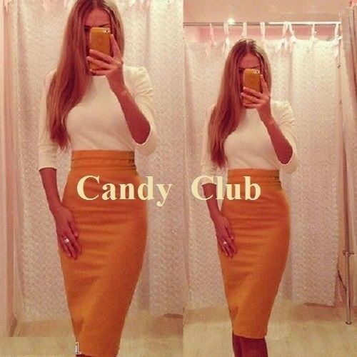 UK Women Orange and White Colours Bodycon Wiggle Cocktail Party Dress