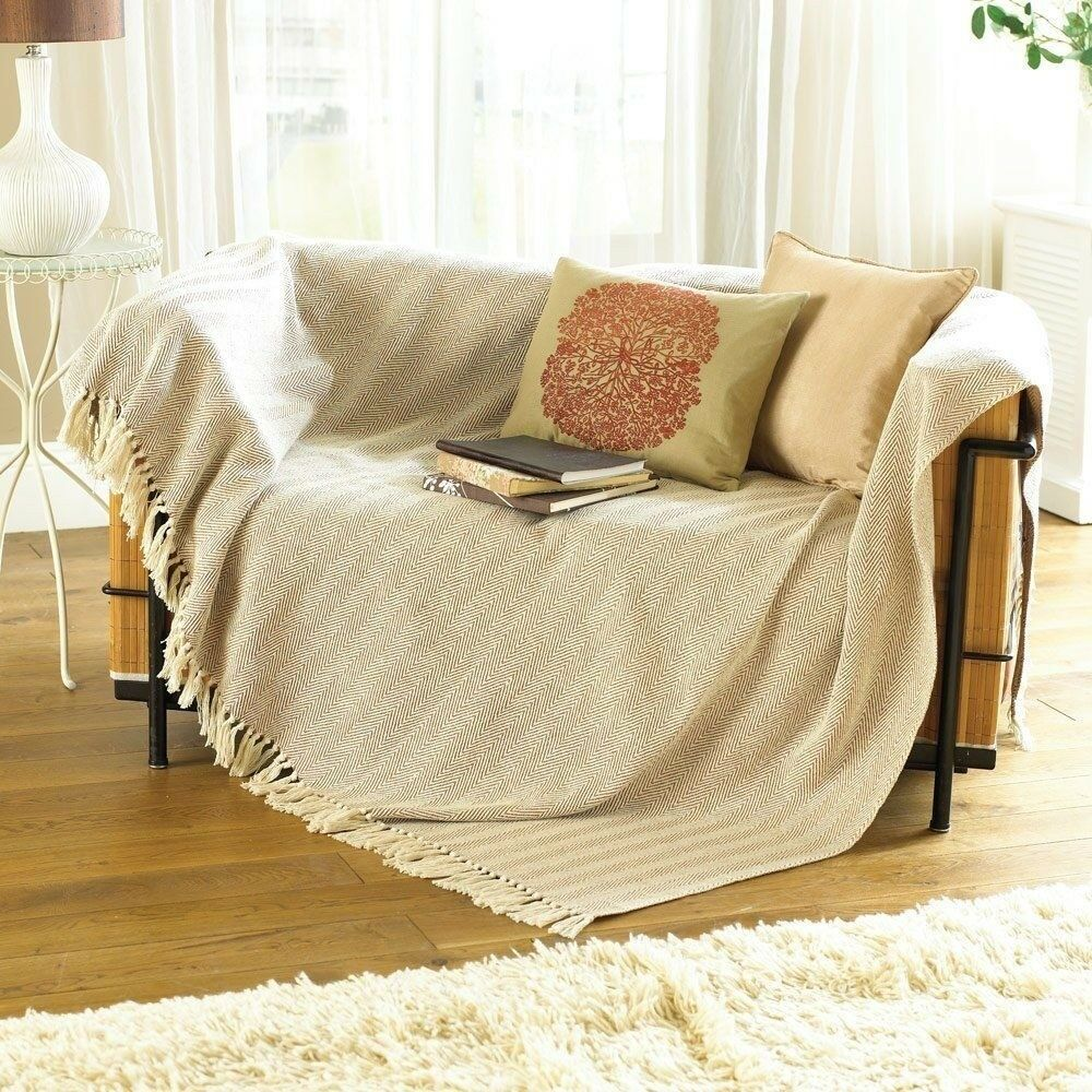 3 x Country Club Como Cotton Throws 228cm x 254cm Beige Nat Sofa Chair Bed NEW