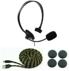 Playstation-4-PS4-Gaming-Headset-Kopfhoerer-Thumb-Grips-Ladekabel-3-Meter