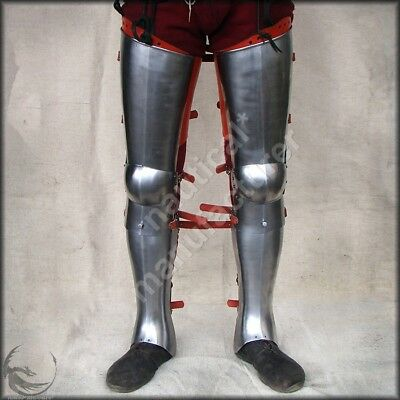 Medieval Functional Knights Armor Greaves Leg Armour /& Arm Bracers One Size Fit All Forged Steel Ready For Battle Steel Copper Finish