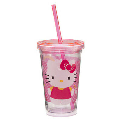 18014 Hello Kitty 12 oz  Acrylic Travel Cup With Straw Cartoons Cat Pink Drink