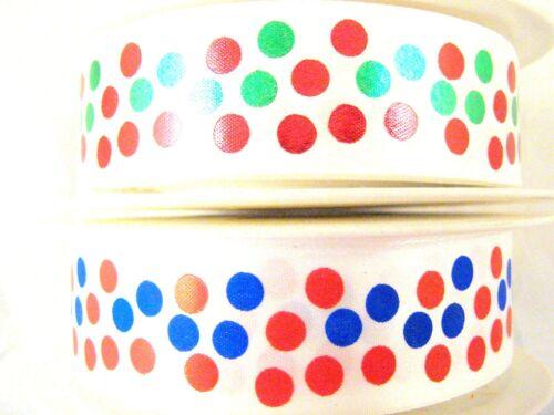 ** 2m x 25mm Polka Dot Single Sided Satin Ribbon