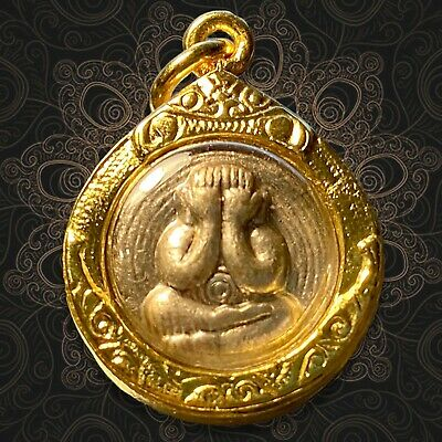 Pidta Closed eyes Buddha Lp.Toa Thai Amulet Lucky,Protect life,Fortune,Wealth