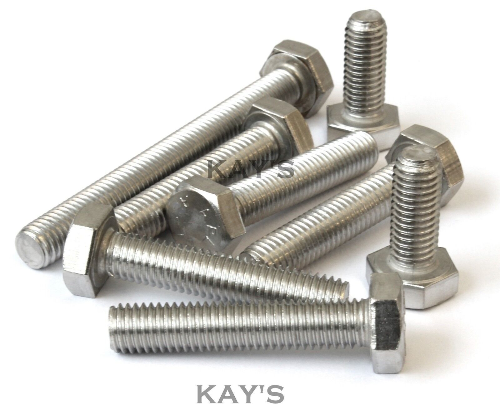M12 HEXAGON SET SCREWS A4 MARINE GRADE STAINLESS STEEL FULLY THREADED BOLTS