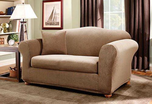 Sure Fit Stretch Stripe Separate Seat Sofa Slipcover Box Cushion Style Brown 2pc