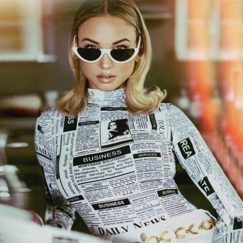Newspaper Turtleneck Long Sleeve Bodysuit Women spring Tops Bodycon Jumpsuit