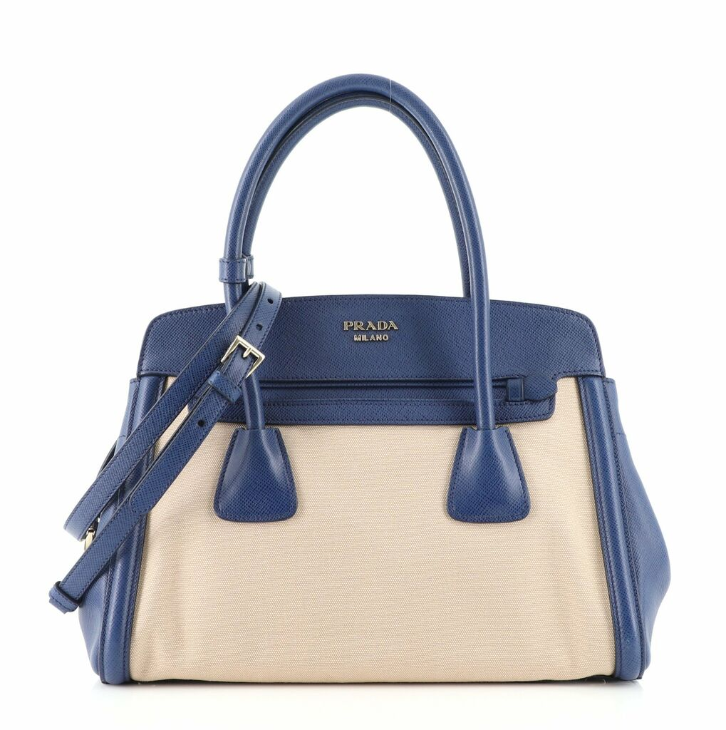 Prada Cuir Frame Convertible Tote Canvas and Saffiano Leather Small    eBay