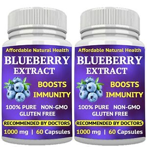 2 WILD BLUEBERRY SUPPLEMENT EXTRACT - 1000 mg CAPSULES - BOOSTS IMMUNE SYSTEM