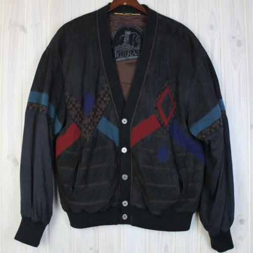 Men's TORRAS Leather / suede Cardigan Jacket sz 58