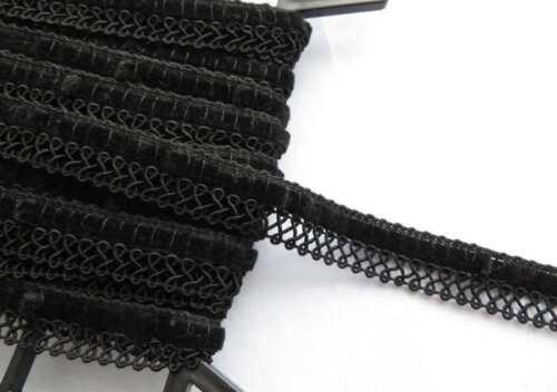 2 metres Vintage style black lace edge braid with black velvet ribbon slot 1.8cm