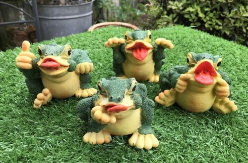 Set Of 4 Garden Ornament Resin Statues Frog Home Decor Sculpture Gift Set