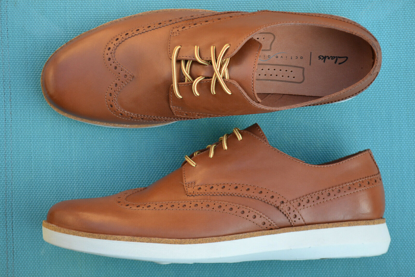 Clarks Mens Active Air Shoes FAIRFORD WALK Tan Leather UK 11 / 46
