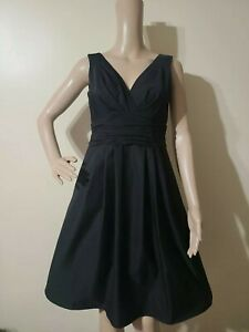 NWOT NANETTE LEPORE Sweetheart Black Fit &Flare Sleeveless Rutched Waist Dress 2