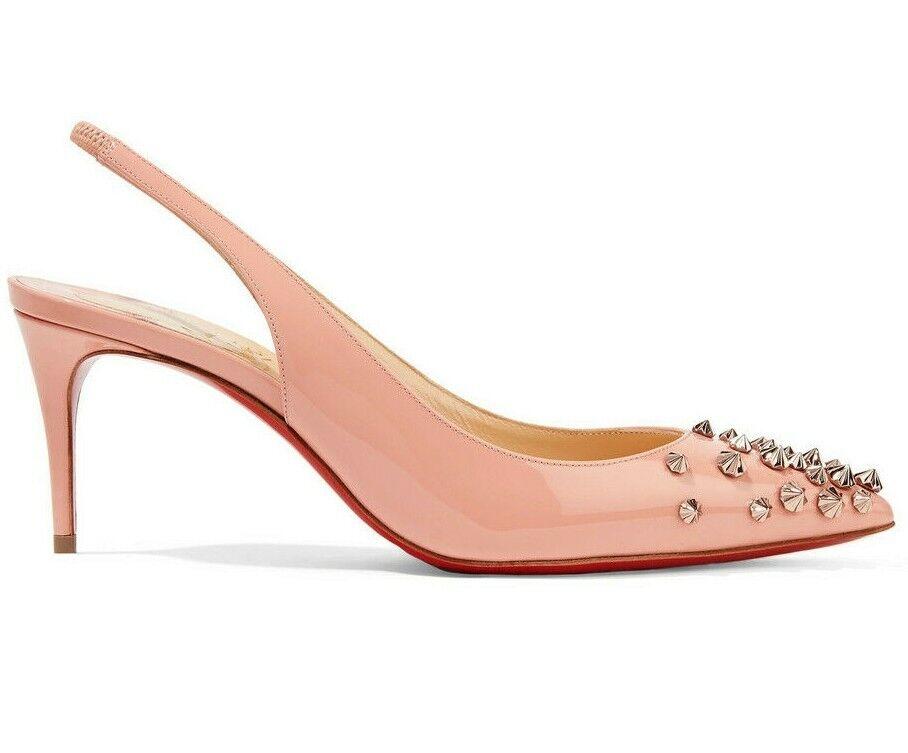Christian Louboutin Drama 70mm Sling zapatos Col Tacco Studs Slingback Decolltè