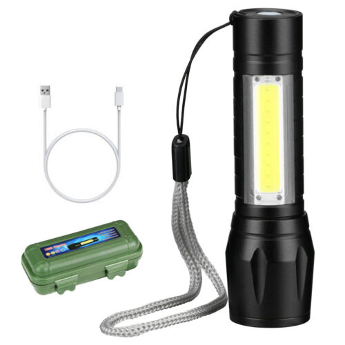XPE+COB LED Flashlight White Light Tail Rope Rechargeable Camping Torch Light