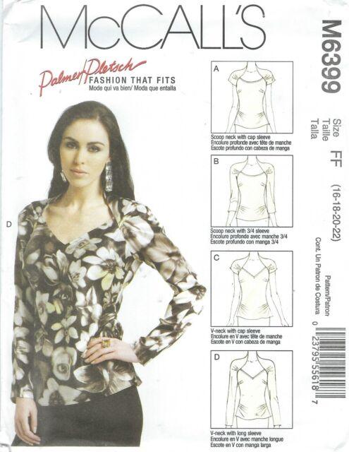 McCalls Patterns M6399 Misses Tops Size FF 16182022 | eBay