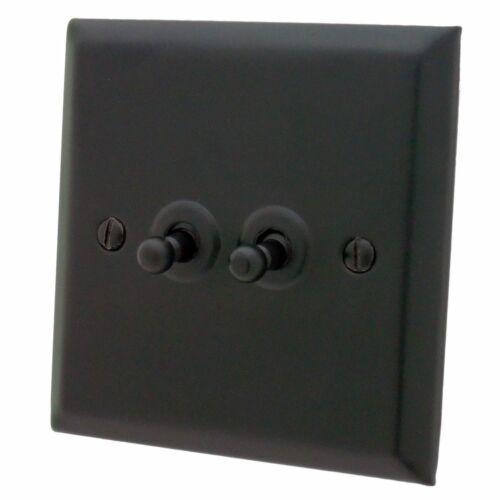 G/&h Spectre SFB282 plaque Matt Noir 2 Gang 1 Ou 2 Way Toggle interrupteur de lumière