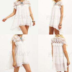 Women-Mini-Dress-Splice-Lace-Crochet-Short-Sleeve-Casual-Evening-Party-Beachwear