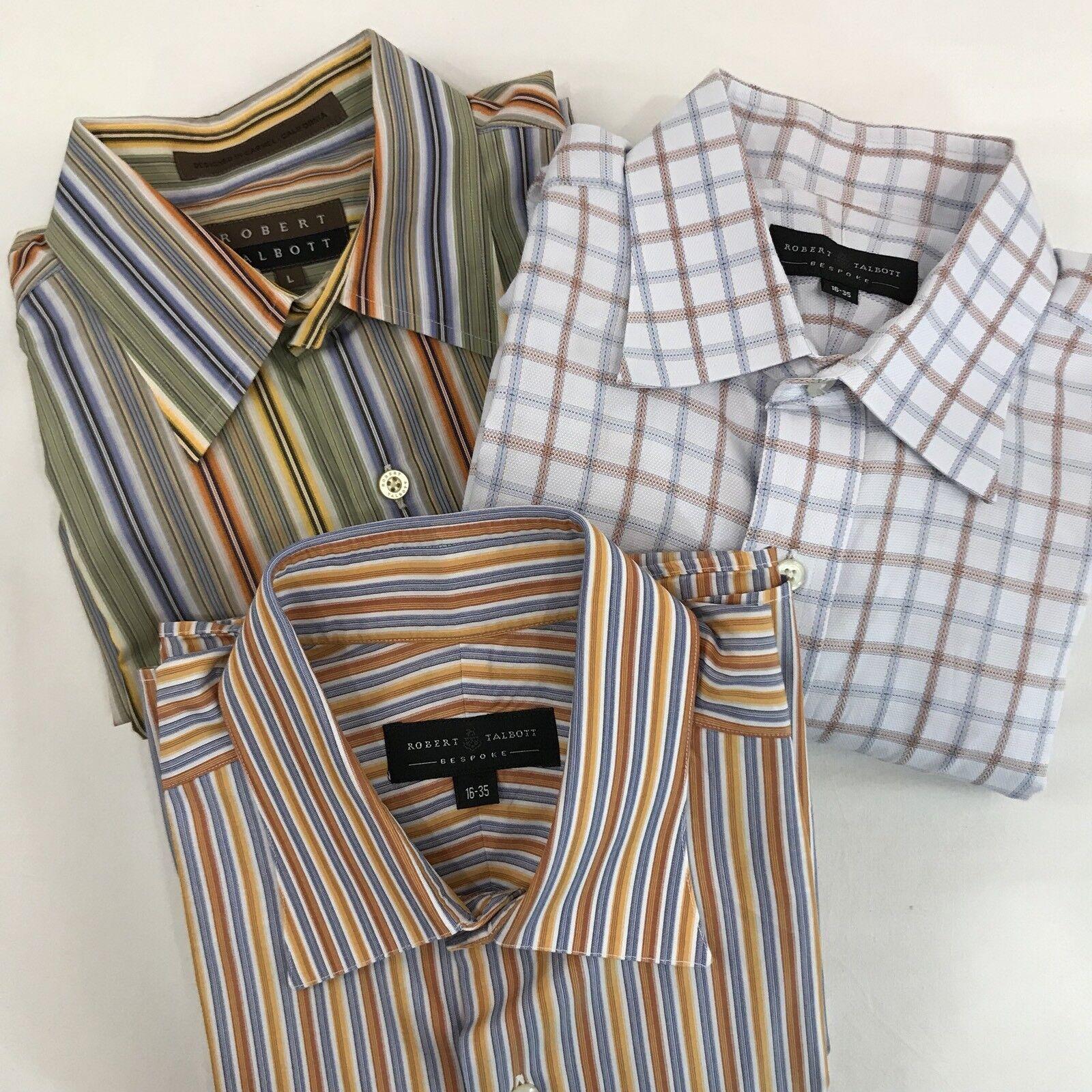 Robert Talbott Bespoke Shirts Sz 16 35 Large Striped Plaid Button Down Lot of 3