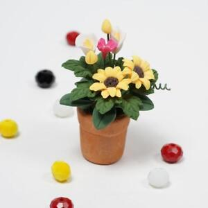Sunflowers-in-Clay-Pot-Plant-For-1-12-Miniature-Dollhouse-Kitchen-Decor