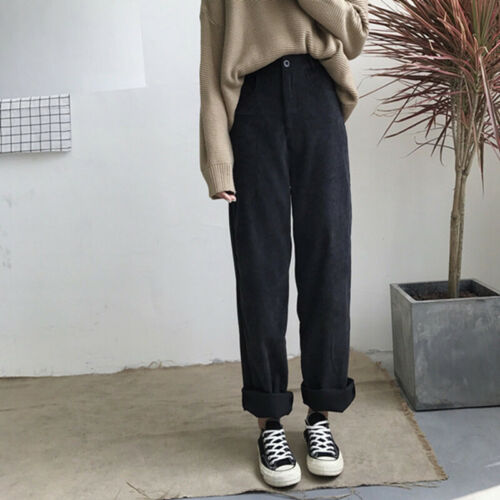 Casual Straight Pants Solid Wide Leg High Waist Streetwear Womens Loose TrouseWH