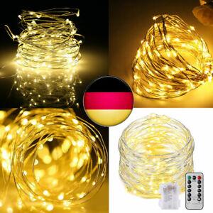 5M-50-LED-Lichterkette-Drahtlichterkette-Fernbedienung-Timer-Batterie-Warmweiss