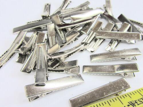 "48 Silver 1.25/"" Flat Face Alligator Teeth Small Hair Clip//Bow Supply//Craft L98-C"