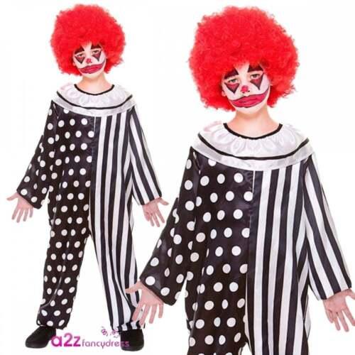 New Boys Girls Kreepy Klown Jumpsuit Costume Halloween Freaky Circus Fancy Dress
