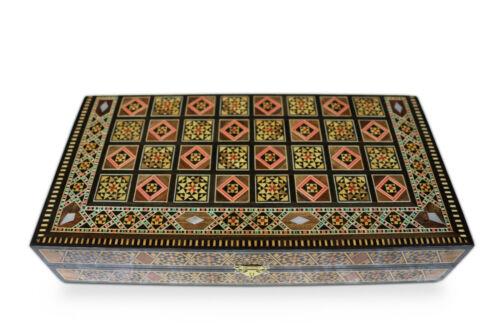 Neu 30x30cm Holz Backgammon//Schach,Tavla,Brett,inkl.Holz Steine/&Figuren,BK302 F