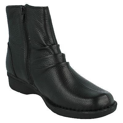 Nuevas Botas De Cuero Negro Clarks Dinero Silbato-UK Size 8D