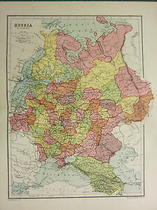 ANTIQUE MAP RUSSIA IN EUROPE NORONEJ MINSK POLAND FINLAND - minsk map
