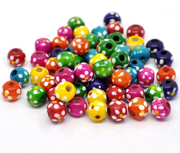 300 Mix Gefärbt Punkt Rund Holz Spacer Perlen Beads 10x9mm