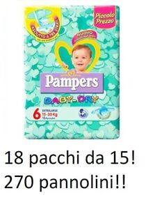 Vereinigt 270 Windeln Pampers Baby Dry Tg.6 Extralarge 15-30 Kg 18 Stapel Von 15 Pzcad U Windeln Baby