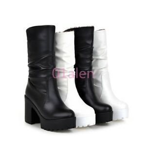 Lady-039-s-Riding-Slouch-Goth-Mid-Calf-Boots-Platform-Ruched-Shoes-Block-High-Heel