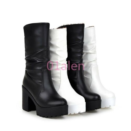 Fashion Womens Slouch Goth Mid Calf Boots Platform Ruched Shoes Block High Heels