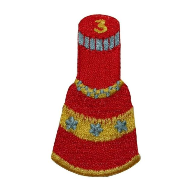 Nail polish bottle red makeup diy embroidered applique iron-on patch S-1630