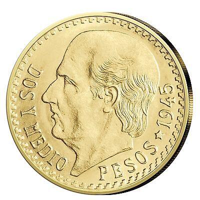 Goldmünze Mexiko 2,5 Pesos Freiheitskampf Hidalgo 1918-1949