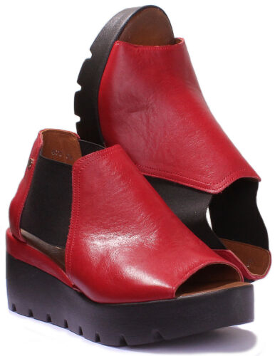 Justin Reece Ladies Womens Leather Wedge Elastic Platform Comfort Size