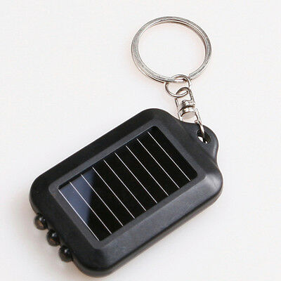 Portable Solar Power 3 LED Lamp Flashlight Torch Key Chain