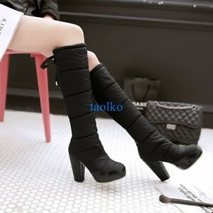 Chic-Women-039-s-Knee-High-Boots-Winter-Warm-Snow-Boots-Platform-Round-Toe-Shoes