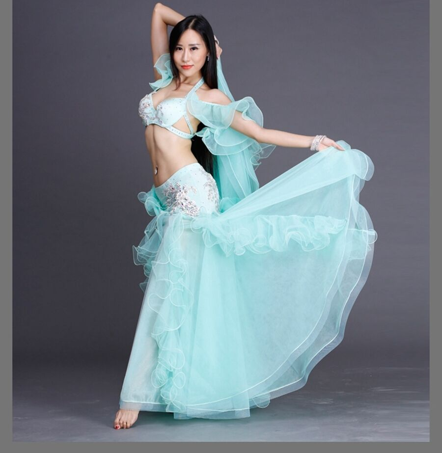 2018 Professional Belly Dancing Costumes Set Performance Diamond ... d98cfd474006