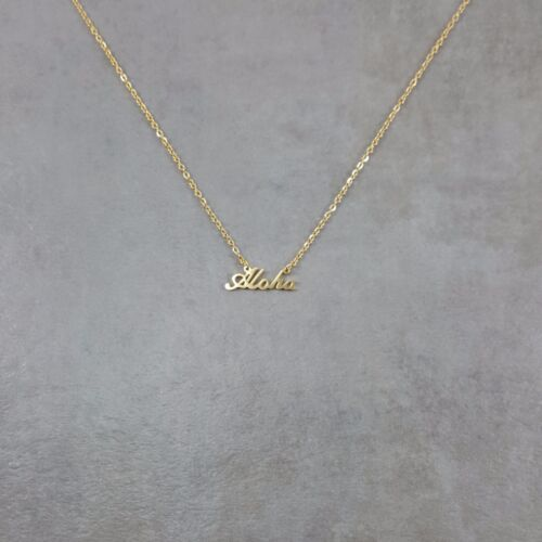 Aloha Dainty Gold Necklace 18K Plated Charm Pendant Necklace in Gift Box Cursive