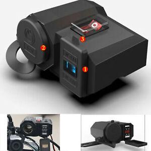 Adaptador-corriente-para-cargador-USB-motocicleta12v-24v-Socket-y-voltimetro