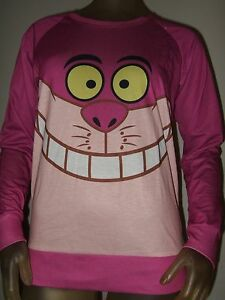 Juniors Pink Cheshire Cat Smile Face Alice In Wonderland Sweater