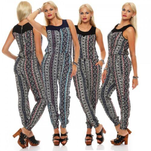 Damen Overall lang bunt Muster orientalisch Hose Jumpsuit Gr M//L 3XL//4XL