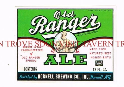 Unused 1950s Old Ranger Ale 12oz Hornell Label Tavern Trove New York