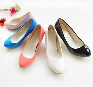 Lovely-Womens-Shiny-Loafers-Slip-On-Ballroom-Pumps-Casual-Mid-Slim-Heels-Shoes