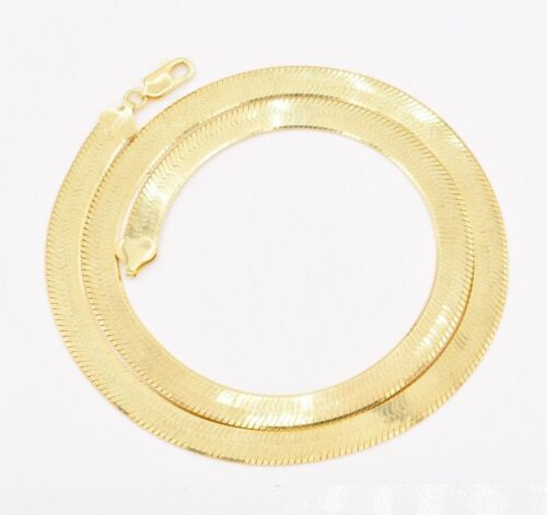 9mm Flexible Herringbone Chain Necklace Solid 14K Yellow Gold Clad Silver 925